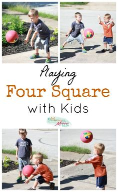 Four Square is a classic summer game to play outside with your kids! It teach problem solving skills, communication and of course, hand-eye coordination. Gross Motor Activities, Outdoor Activities For Kids, Sensory Activities, Physical Activities, Games For Kids, Family Activities, Babysitting Activities, Dementia Activities, Movement Activities