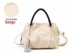Woman Fashion Tote Genuine Leather Handbag Snake Pattern Shoulder Bag Tassels Oranment 900691 $66.00