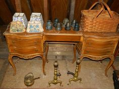"""Contents of Second Floor of Barn, Sold Buyer's Choice including: Porcelain Top Kitchen Set with 4 chairs, Vanity Dresser, 2 Bed frames, Drop leaf table, Casswell-Runyun Cedar Chest (Hinges need screws) Portrait of Horse on canvas in ornate frame signed"""" L.R.Jacobs (star) 94"""", 2 Scythes, 7 insulators, Basket, Fireplace Accessories, #5 Jug (Damages Handle) 4 Japaned Oriental tables (All have damages)"""