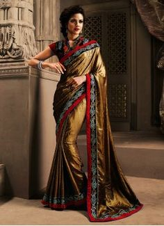 Gold Embroidered, Patch Border, Resham and Stone Raw Silk, Shimmer Georgette and Velvet Designer Saree