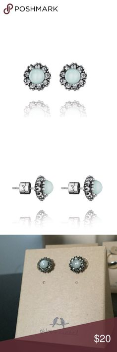 Aquamarine Stud Earrings March birthstone ✨ or for anyone! Clear crystal, antique rhodium, nickel free!   Comes with pouch ❤️ Chloe + Isabel Jewelry Earrings