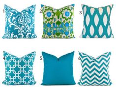 Turquoise Pillow Covers ANY SIZE You Choose by MyPillowStudio