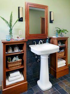 Bathroom Storage Rental Pedestal Sink 43 New Ideas Pedestal Sink Storage, Pedestal Sink Bathroom, Pedistal Sink, Pedestal Basin, Sinks, Towel Display, Storage Rental, Rental Bathroom, Small Bathroom Storage