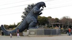 Japan's 30-Foot Tall Godzilla Statue Doubles as a Playground Slide