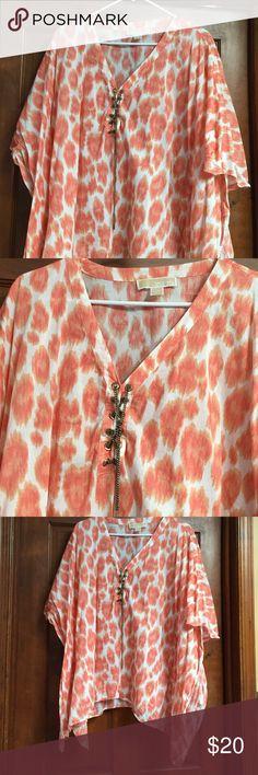 Michael kors shirt Orange & white Michael kors shirts Michael Kors Tops Blouses
