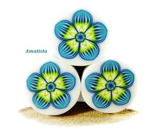 Polymer clay flower cane: Raw polymer clay cane - Millefiori cane supplies - Blue-green flower cane - Supplies for jewelers