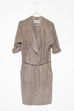 Gans Coat : could easily be a dress shape : great colour, suede is gorgeous fabric for a coat, the dress could be a wool, or maybe even a short pile velvet