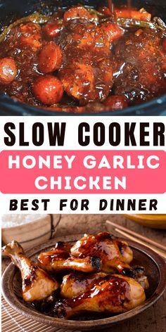 Best Slow Cooker, Crock Pot Slow Cooker, Crock Pot Cooking, Slow Cooker Recipes, Crockpot Recipes, Cooking Recipes, Honey Garlic Chicken Thighs, Slow Cooker Chicken Thighs, Easy Chicken Recipes