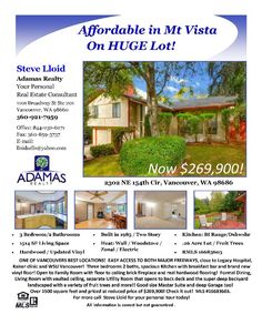 Real Estate NOW for sale at $269,900! Come and view this three bedroom, two bath, 1514 square foot affordable two story Mt Vista home on a large .26 acre lot with fruit trees located at 2302 NE 154th Circle, Vancouver, Washington 98686 in Clark County area 44 which is the North Salmon Creek area in Vancouver. The RMLS number is 16683603. It has one insert wood burning fireplace and is not considered to be a view home. It was built in 1985 and has an attached two car garage. The local high…