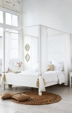 The four-poster bed has been given a modern makeover with the San Tropez bedroom suite. Made from solid timber and hand finished in vintage white, it will add a touch of romance to any bedroom. Available in King or Queen bed with matching tallboy, dressing table with mirror and bedside table at Bedshed.