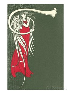 Art Deco Angel Blowing Trumpet Art Print at AllPosters.com