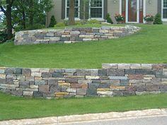 Granite mix stone retaining wall. In Minneapolis Minnesota.