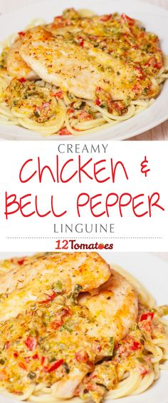 Creamy Chicken & Bell Pepper Linguine | With fresh red bell peppers, zucchini, and a little bit of cream, we made a tasty sauce that perfectly complements our baked chicken.