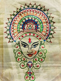 15 Ideas for flowers design pattern draw hand embroidery Durga Painting, Worli Painting, Saree Painting, Kerala Mural Painting, Sketch Painting, Fabric Painting, Fabric Art, Madhubani Art, Madhubani Painting