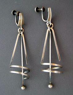 Earrings    Paul Lobel.  'Kinetic Modernist'  Sterling Silver. Pre 1960s.