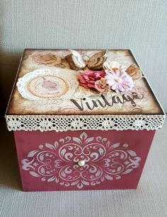 A pretty storage box - ideal for silk scarves and other accessories. Shabby Boxes, Shabby Chic Cards, Pretty Storage Boxes, Arts And Crafts, Diy And Crafts, Paper Crafts, Decoupage Art, Pretty Box, Vintage Scrapbook