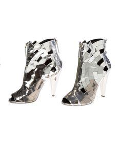 Refinery29 Shops: Emily London Closet Giuseppe Zanotti silver metallic zip up open-toe booties - Emily Londons Closet - Boutiques