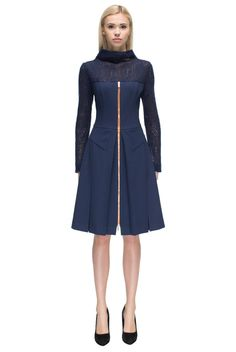 'Tempting Morning' Navy Blue, Long Sleeve, Knitted Top, Zip Front Dress