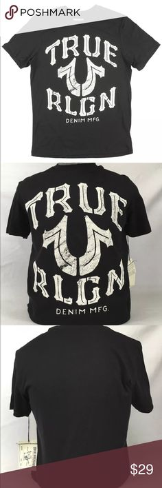 TRUE RELIGION Black Crew Neck Logo T-shirt Tee 4XL NWOT --- tags not included. Men's True Religion crew neck tee. 100% authentic. Retail is $81 so I am firm on price as they're already greatly discounted. Message me for measurements if needed. Probably true to size as they are very large. True Religion Shirts Tees - Short Sleeve
