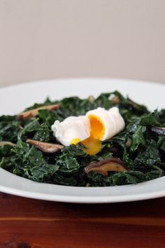 Miso-Glazed Kale with Shiitake Mushrooms and a Poached Egg