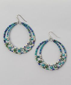 Another great find on #zulily! Blue & Silver Beaded Hoop Earrings #zulilyfinds