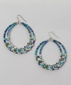Blue & Silver Beaded Hoop Earrings #zulily #zulilyfinds