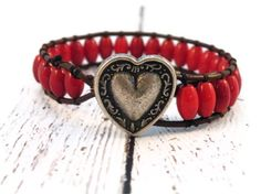 Boho Red Barrel Leather Wrap Bracelet with Heart Button / Cardinal Red / Boho Chic