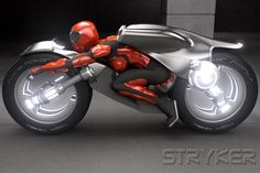 Stryker: concept electric motorcycle.  I like the handlebars in the front wheel.
