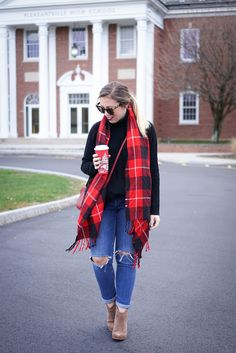 Garnet Hill Oversized Turtleneck Sweater Festive Red Plaid Scarf H&M Distressed Girlfriend Jeans Suede Booties Holiday Red Starbucks Cup