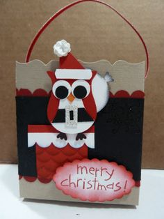 Christmas Gift box using owl punch by stampinmari - Cards and Paper Crafts at Splitcoaststampers
