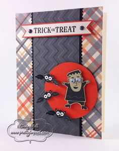 Halloween card made by Cindy Hall of www.prettyimpact.com, using  Stampin' Up's new googlie eyes in the holiday catalog.