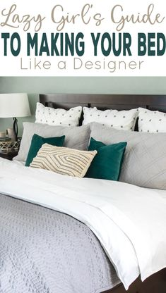 Make your bed look like a designer the easy way. Tips and Tricks to cover wrinkles and add plush bedding. Yep, lazy girls can have a bed that looks like a magazines. Make Your Bed, How To Make Bed, How To Dress A Bed, Living Room Color Schemes, Living Room Designs, Bedroom Designs, Bed Maker, Diy Room Decor, Bedroom Decor