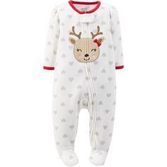 Child of Mine by Carter\'s Newborn Baby Girl Zip Close Christmas Reindeer Sleep n\' Play