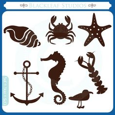 At The Beach Silhouettes - starfish, anchor, crab, sea horse, sea gull, shell, premade logo designs - Personal and Commercial Use Clip Art