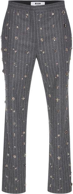 MSGM Embellished Pinstripe Pants