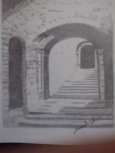 Stairs to a old church in Michigan drawn in hb ,Ann b pencils