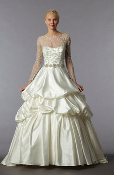 Dennis Basso - Illusion A-Line Gown in Satin Waist up, I love this. The skirt... no. But the belt up, so pretty!!!