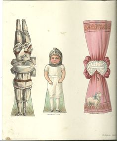 Paper Doll Cut Out Series Philadelphia Inquirer 1895.  Jack has a suit of armor and a cute dress.