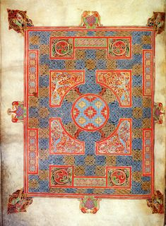 Folio 94 verso from the Lindisfarne Gospels; cross-carpet page for St. Mark.