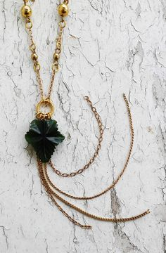 Jade Green Leaf Pendant Hanging Chains Gold Tone Necklace by ObscuredOdditiess on Etsy