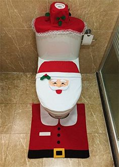 Father Christmas Toilet Seat Cover And Floor Mat Santa