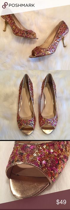 "Nine West Sequin With gold heels. Size 8 1/2 Nine West Sequin With gold peep toe heels. Size 8 1/2. Sequins are pink, silver and gold.  Has small blemish on left toe (pictured). 3"" heel Nine West Shoes Heels"