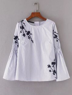 SheIn offers Embroidery Flower Shirred Detail Striped Blouse & more to fit your fashionable needs. Embroidered Clothes, Embroidered Blouse, Blouse Styles, Blouse Designs, Collar Blouse, Embroidery Dress, Mode Style, Blouses For Women, Ideias Fashion