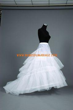 Jupon robe de mariée avec traîne bouffante pas cher