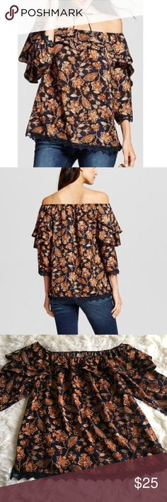 Knox Rose XL Double Ruffle Off the Shoulder Top Beautiful off the Shoulder Top, ruffle and crochet hem detail.  Relaxed fit, stylish and comfortable.  Brand new with tags. knox rose Tops