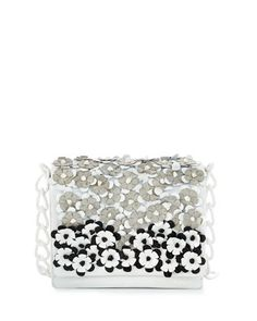 Small Floral Flap-Top Crocodile Shoulder Bag, White/Black/Gray by Nancy Gonzalez at Bergdorf Goodman.