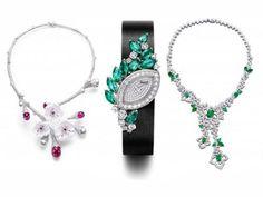 Piaget diamond emerald ruby necklace watch