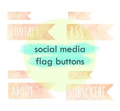flag shaped water color social media icons / blog button graphics by All the Adorables
