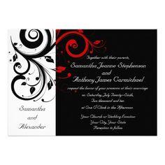 Red and Black Invitation Template | Black/White/Red Reverse Swirl Wedding Invitations - Zazzle.com.au