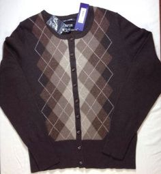 Apt-9-Cashmere-Sweater-Small-Womens-Cardigan-Argyle-Long-Sleeve-Brown-NWT